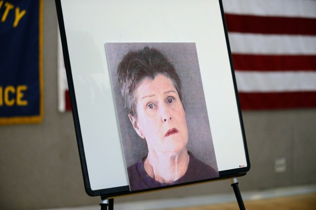 A photo of Cheryl Drace-Ervin, 50, who was arrested for the killing of Stephen Rudiger, was on display during a press conference held at Alameda County Sheriff's Office of Homeland Security and Emergency Services in Dublin, Calif., on Tuesday, Nov. 26, 2013. (Dan Honda/Bay Area News Group Archives)