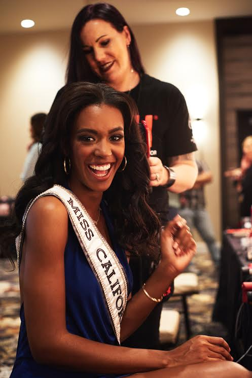 India Williams, Miss California USA 2017, gets her hair done by stylist Nik Martel upon arriving to Las Vegas on May 4.
