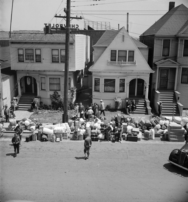 "At the Oak Street site where the Oakland Museum of California now stands,Californians of Japanese ancestry empty their homes in anticipation of being transported to internment camps in this 1942 photograph by Dorothea Lange. The image and others from the photographer's career were included in the recent retrospective exhibition, ""Dorothea Lange: The Politics of Seeing,"" at the Oakland Museum of California. (Oakland Museum of California)"