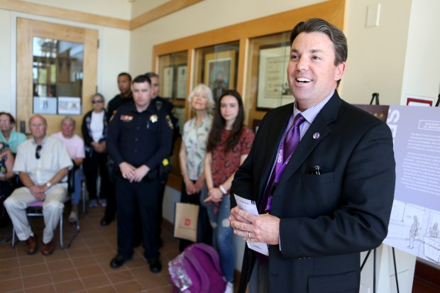 Piedmont Unified School District Superintendent Randy Booker speaks at a groundbreaking ceremony for the planned Wall of Honor at the Ambassador Christopher Stevens Memorial Library at Piedmont High School on May 18. (Anda Chu/Bay Area News Group)