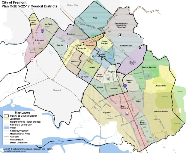 The Fremont City Council selected map C-2b on Tuesday, June 6, above, asthe city's first-ever district elections map. In this image, the map has an overlay that shows where the city's 28 distinct neighborhoods are located within the districts. (Map courtesy City of Fremont)