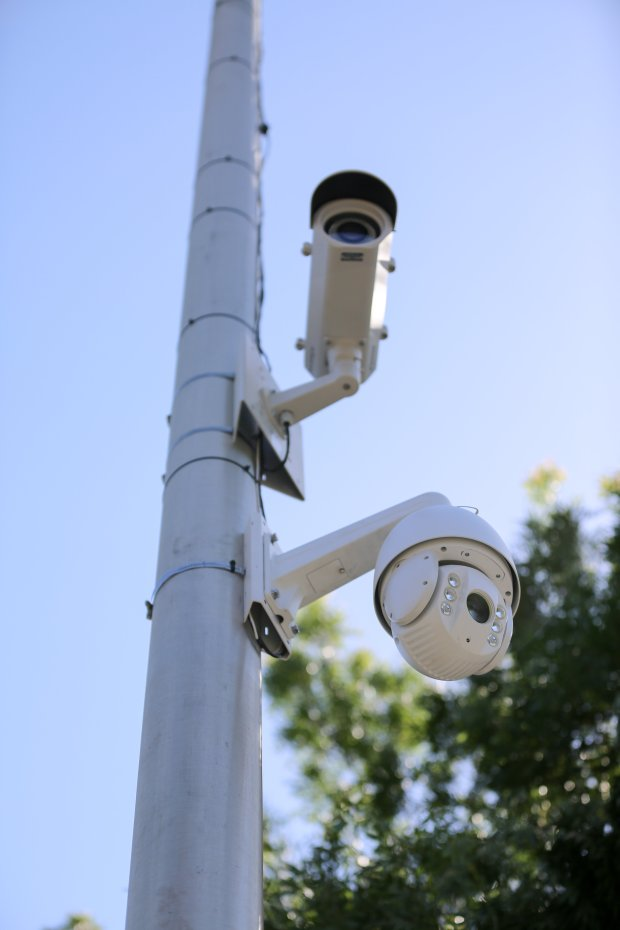"""In addition to installing a camera that records the activity in its new""""exchange zone,"""" Fremont Police installed another camera on a light pole that is capable of capturing license plate numbers on cars traveling eastbound on Stevenson Boulevard. (Photo by Joseph Geha/The Argus)"""