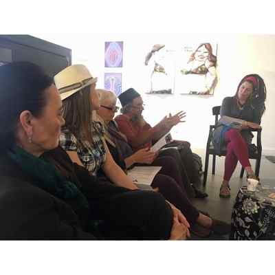 Artists attending a meeting with Pati Poblete of the Robby Poblete Foundation included, left to right, Carmen Slack, Erin Bakke, Kathy O'Hare, Shannon O'Hare, and Carolyn Miller. (CONTRIBUTED/POBLETE FOUNDATION)