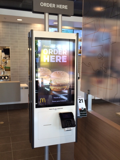 A touch screen ordering kiosk at the new McDonald's on Contra Costa Boulevard in Pleasant Hill.