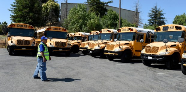 Jorge Sandoval, of Concord, a school bus driver in the Lamorinda area, walks among many of the buses used in the Lamorinda area at the First Student bus yard in Concord, Calif., on Monday, June 19, 2017. Buses are serviced and go through inspections at the yard. (Susan Tripp Pollard/Bay Area News Group)