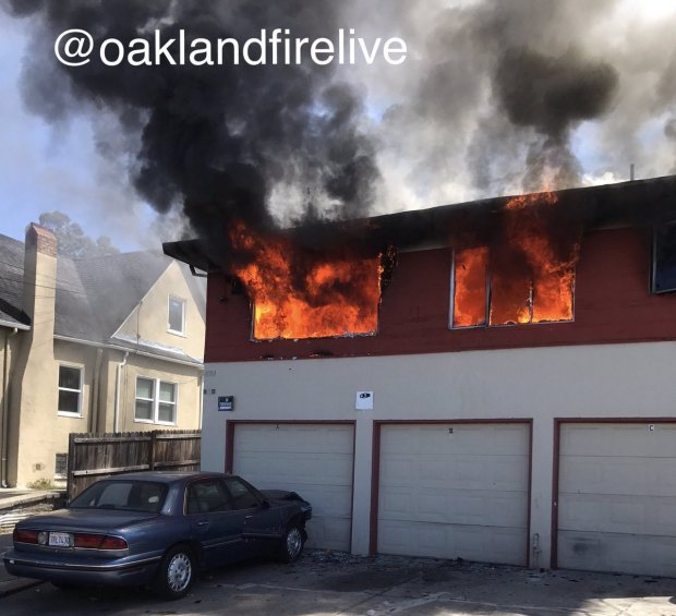 Oakland firefighters shared this image Thursday, July 20, 2017 of a four-plex on fire in the 7800 block of Ney Avenue.