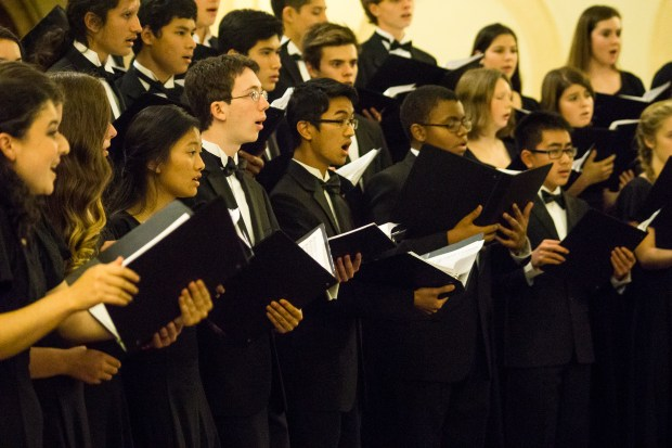 Members of Ecco, the Piedmont East Bay Children's Choir's high school aged choir, are shown. Ecco performs repertoire from medieval to contemporary to jazz.