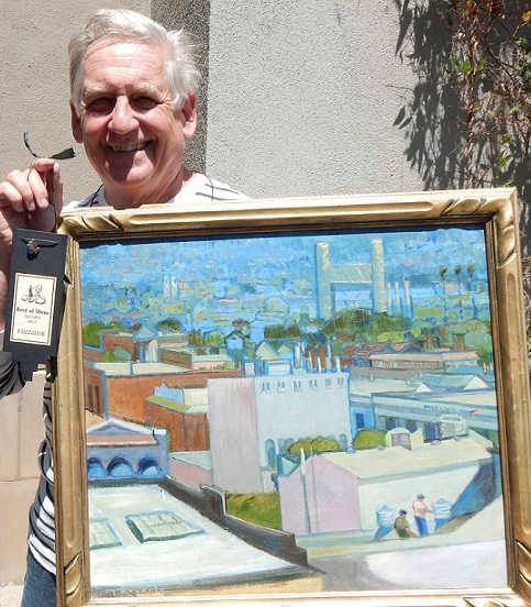 """Artist and painter Chuck Kovacic is the 2017 """"Best of Show"""" winner at the Plein Art Paint Out contest. His painting is entitled, """"ATop"""" oil on canvas, painted from the top deck of the Alameda Theatre and Cineplex, looking at the Fruitvale Bridge and the Oakland hills. (Courtesy of Charles Lopez Sr.)"""