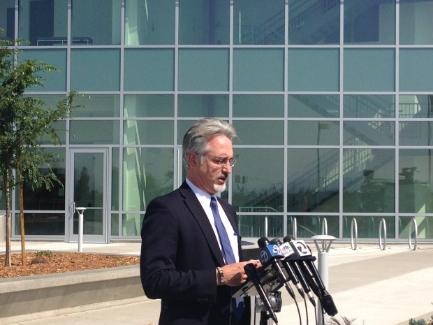 Attorney Kenneth Wine speaks to the press outside the East County Hall of Justice in Dublin before the arraignment of his client 42-year-old Wyndham Lathem, one of two suspects in a Chicago slaying. (Picture taken by Angela Ruggeiro, Monday, Aug. 7, 2017)