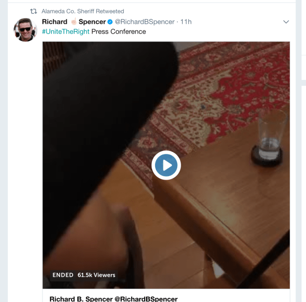 A screenshot from Twitter shows the Alameda County Sheriff's Department's retweet of a livestream from a prominent white nationalist.