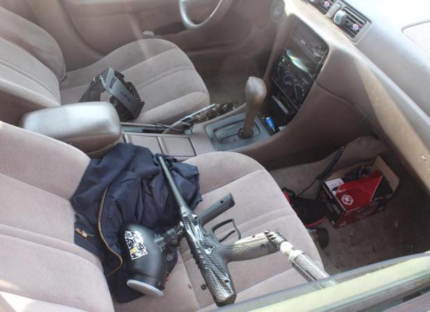 Police recovered several paintball guns, a loaded revolver and other evidence from a car in the Iron Triangle neighborhood in Richmond. (Photo courtesy Richmond police.)