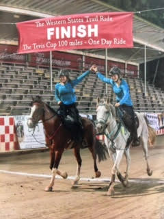 Dream Girls team members Juliana McElroy, left, on Chief, a mustang, and Mollie Quiroz, on Goose, an Arabian, are shown at the finish line of the grueling 100-mile endurance race known as the Tevis Cup. This year's Tevis Cup began at 5:15 a.m., on Aug. 5, and ended at 5:15 a.m., on Aug. 6, and saw 92 of the original 174 entries finish the race. (Courtesy of Debra Rodruguez)
