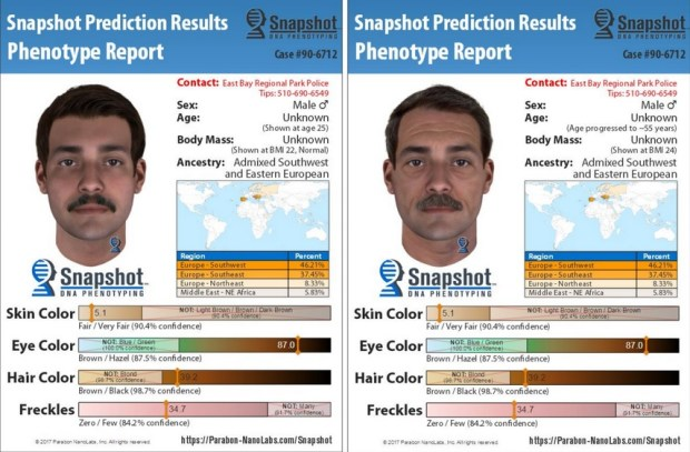 Park district police on Thursday released composite sketches showing a person of interest in a 1990 homicide in Tilden Park. The image on the right depicts how the man would have aged. (East Bay Regional Park District Police)