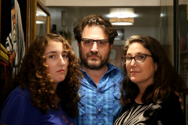 Alameda High sophomore Natasha Waldorf, left, with her parents Mel and Jessica are photographed in their home in Alameda, Calif., on Friday, Oct. 27, 2017. The Jewish family say their daughter was harassed for her Jewish heritage by a german exchange student and she has been the victim of an ongoing campaign of Anti-Semitism. (Ray Chavez/Bay Area News Group)