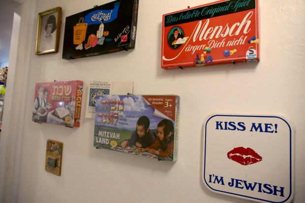 Jewish memorabilia decorates a wall at the Waldorf's home in Alameda, Calif., on Friday, Oct. 27, 2017. The Jewish family say their daughter Natasha, an Alameda High sophomore, was harassed for her Jewish heritage by a German exchange student and she has been the victim of an ongoing campaign of Anti-Semitism. (Ray Chavez/Bay Area News Group)