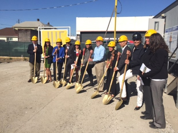 Officials from the City of Alameda, Alameda Housing Authority, Alameda Home Team attend a groundbreaking ceremony for affordable housing apartments in Alameda. (Peter Hegarty/Staff)