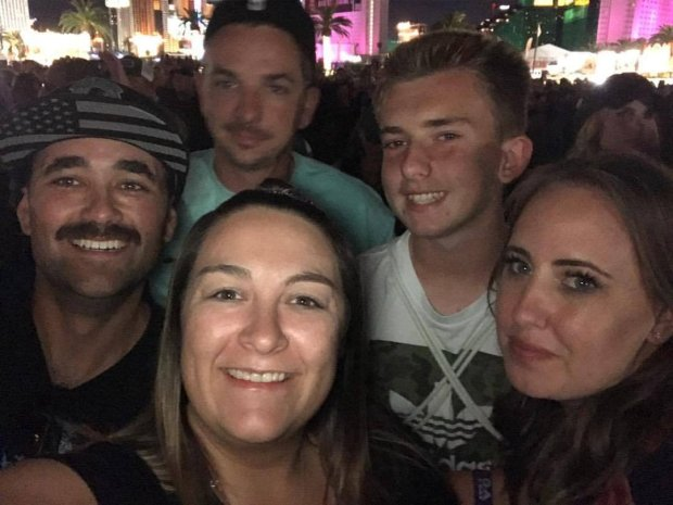 From left, David and Britni Eastin, Jason Lebon, back, Tyler Woodman, andJacquelyne Lebon, right, took this group shot Sunday night while at the Route 91 Harvest country music festival only a short period before the thousands in attendance started being shot at by a single shooter in the Mandalay Bay Resort and Casino in Las Vegas. (Courtesy David Eastin)