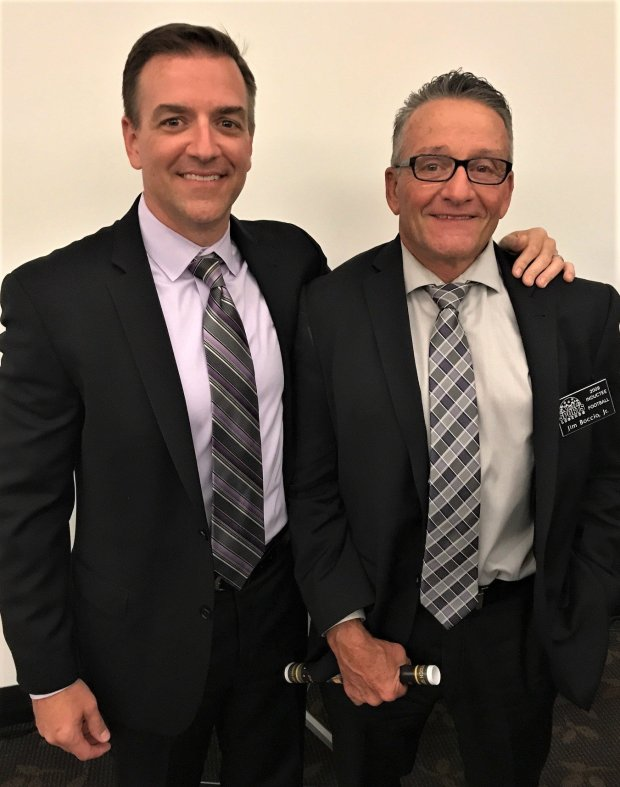 Brian Boccio, left, and his father, Dr. Jim Boccio Jr. enjoyed the SportsLegends Hall of Fame event on Oct. 6 in Antioch. The younger Boccio was awarded for Antioch High football. His father is from the Legends Class of 2009 for football. COURTESY TRINE GALLEGOS