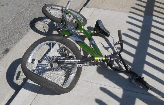 Antioch police shared this image Sunday, October 1, 2017 of a badly damaged bicycle after a 10-year-old boy was seriously injured outside his Bart Avenue home Saturday by a hit-and-run driver.