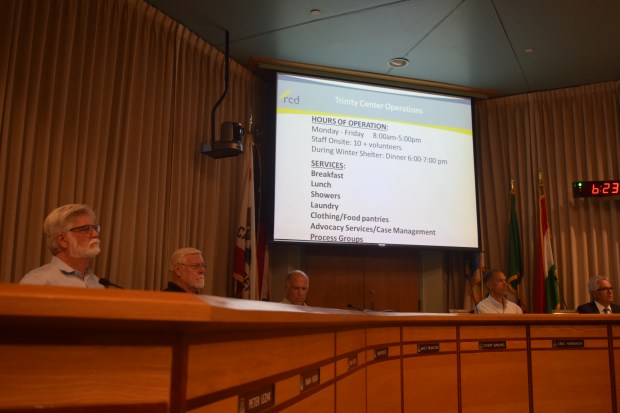 Walnut Creek Planning Commissioners listen to a presentation Oct. 26 about a proposed temporary home for the Trinity Center homeless day shelter and resource center.