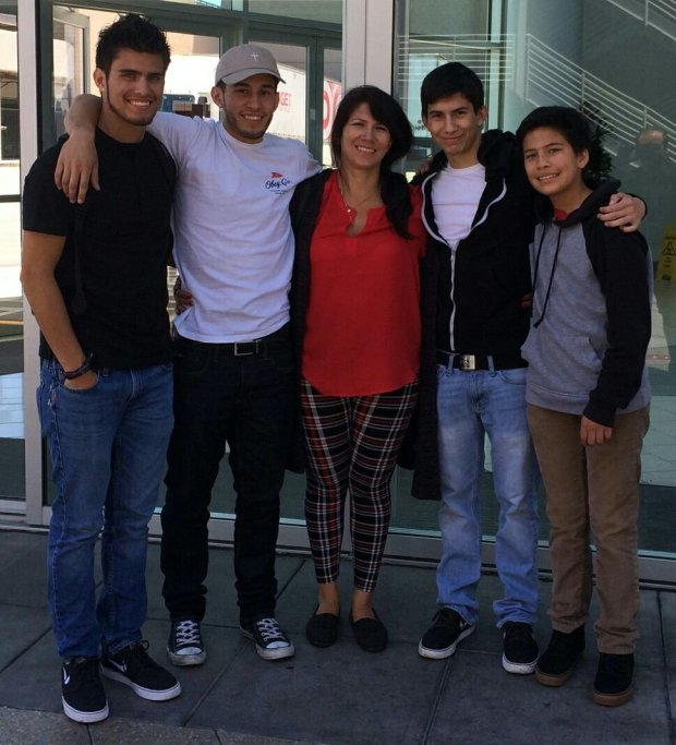 Ariana Ruiz, center, with her four boys, Jayme, Bobby, Edward and Adrian.