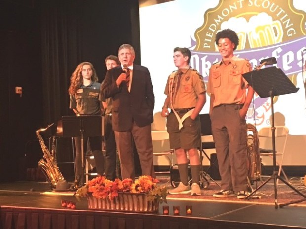 At the Oktoberfest event, Rob James introduced youth speakers Rachel Elliott, Josh Rogers, Ayden Riley, Brandon Frith, who are all members of Scouting programs with the Piedmont Council. (Courtesy of Tracey Firth)