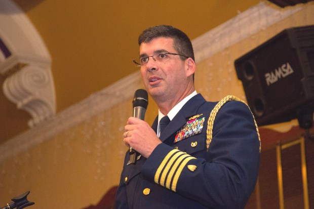 """""""Whether you're in uniform today or in uniform many years ago, you're the true strength of the military,"""" U.S. Coast Guard Capt. Nathan Moore, Chief of Staff for the Pacific Area Command, told the Alameda Elks Lodge's Veterans Day Dinner audience in his keynote address. (Courtesy of Clayton J. Mitchell Photography)"""
