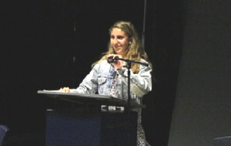 """Beatrice Levy was honored as the poet laureate of Saint Joseph Notre Dame High School for 2018 at a celebration of the student literary book, """"Prisms."""" (Courtesy of Anthony Vu)"""
