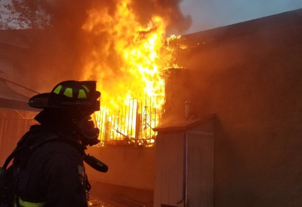 Oakland fire crews responded to a house fire about 4:25 p.m. Wednesday, Nov. 8, in the 2700 block of 26th Avenue, near the Fruitvale district. (@Oaklandfirelive)
