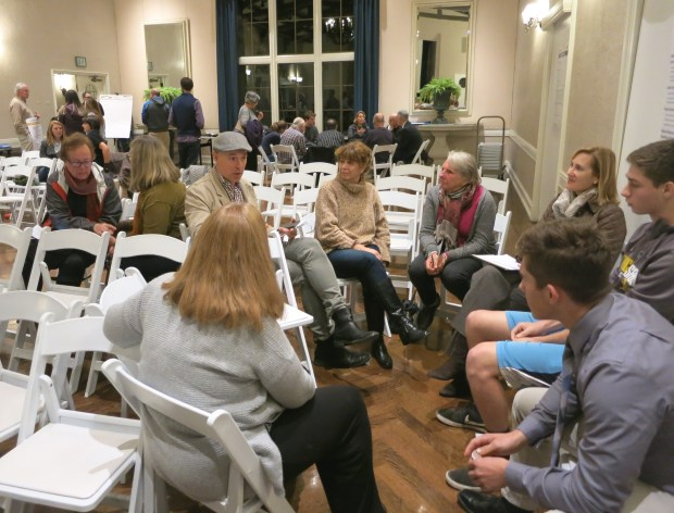 Piedmont residents discuss possible environmental options during a Nov. 7 community workshop.(David Boitano/For Bay Area News Group)
