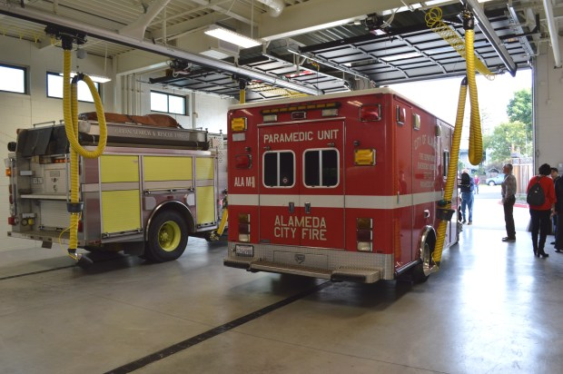 The new 9,000-square-foot Fire Station 3 on Buena Vista Avenue allows the Alameda firefighters to live inside the station. It features a two apparatus bays, a conference room, a public lobby and a large kitchen.