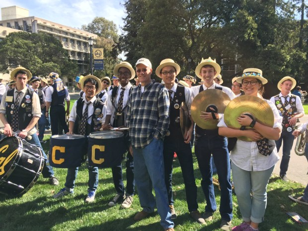 Dr. Robert Calonico, director of bands at University of California, Berkeley, leads a drumline February 20, 2016 to a campus glade for a surprise serenade of Los Angeles Philharmonic musical director Gustavo Dudamel.