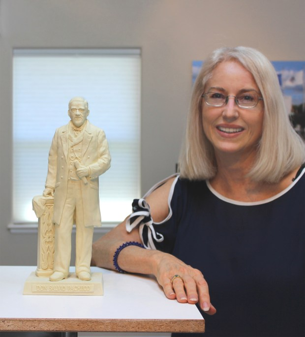 Sculptor Paula Slater is working on a larger-than-life-size bronze statue of one of Concord's founders, Don Salvio Pacheco, which will be unveiled during a Fourth of July ceremony to commemorate the city's 150th anniversary.