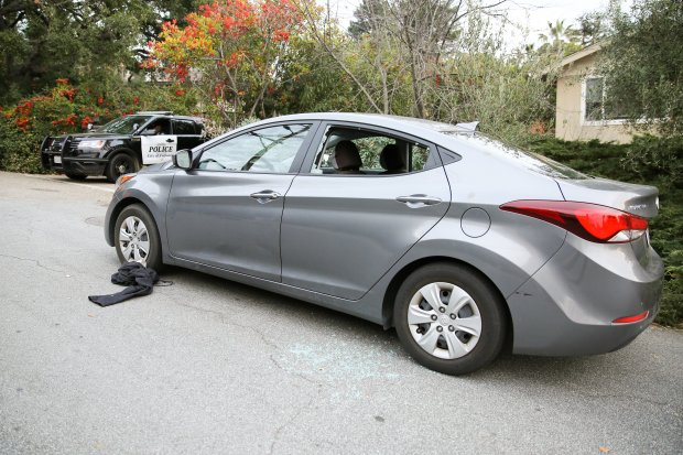 The car police say a man stole from his father after allegedly assaultinghim Tuesday, Jan. 2, 2018, is seen parked on Mill Creek Road in Fremont. (Joseph Geha/Bay Area News Group)