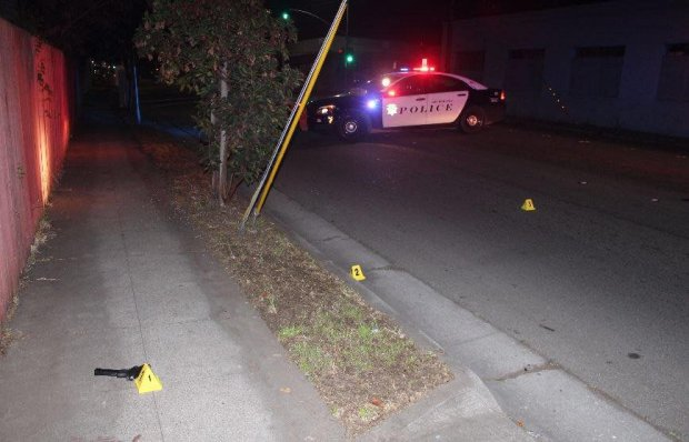 Richmond police shared this image Sunday, Jan. 7, 2018 of evidence markers showing where a gun and other items were recovered during a Dec. 30, 2017 traffic stop attempt and pursuit leading to four teens' arrests.