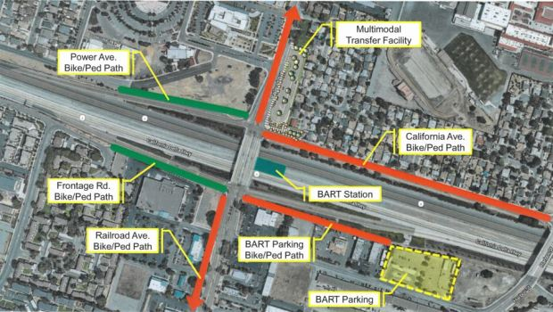 The BART Ped/Bike Connectivity Project will include three Class 1 trails and one Class 4 buffered bike lane that will provide access to the new BART facility in Pittsburg. (Courtesy of the City of Pittsburg)