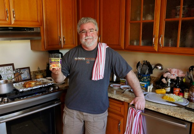 Myles Sanchez poses for a portrait as he tests out SPAM recipes in his kitchen on Sunday, Jan. 28, 2018, in Castro Valley, Calif. Sanchez plans to enter a cooking competition at the SPAM Festival in Isleton. (Jim Gensheimer/Bay Area News Group)