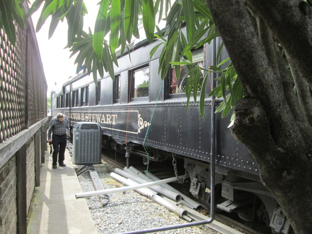 This passenger car, until recently part of the Vic Stewart's steak house in Walnut Creek, has been donated to the Martinez Historical Society, and plans are to move the car to Martinez.