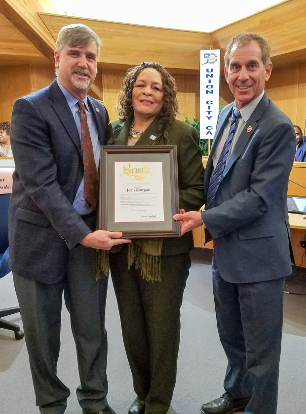 Jean Morgan, the community outreach director of Fremont-based AbodeServices is photographed with State Sen. Bob Wieckowski after being presented with an African American Heritage Leadership Award on Feb. 8, 2017 at the Union City City Council chambers. (Photo courtesy Tim Orozco)