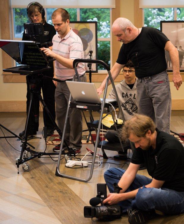 "Shari Dyer, left to right, John Velgus, Drew Saldivar, director Larry Huntand Jeremy Butterfield record a segment for ""Inside Pleasant Hill."" Coourtesy Larry Hunt/LarryLogic Productions"