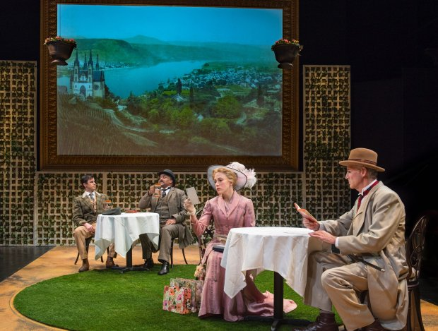 """In the background, actors, from left, Dan Hoyle as Harry Trench and MichaelGene Sullivan as Cokane and in the foreground, from left, Megan Trout as Blanche Sartorius and Warren David Keith as Mr. Sartorius star in G.B. Shaw's """"Widowers' Houses"""" at Aurora Theatre playing through March 4."""