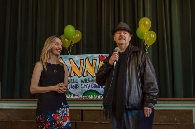 Dan Fontes is honored at the Laurel Annual Local Heroes Celebration for his Oakland murals, February 24th, 2018. (Photo by Aubrielle Hvolboll)