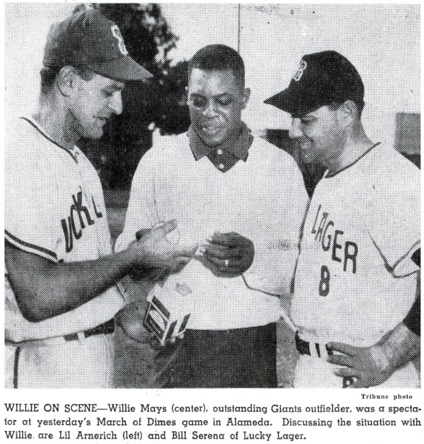 In this 1959 Oakland Tribune photograph, Lil Arnerich, left, is shown with San Francisco and New York Giant Hall of Fame centerfielder Willie Mays, who came to watch a March of Dimes game in Alameda. At right is Bill Serana, a Lucky Lager teammate of Arnerich. (Oakland Tribune archives)