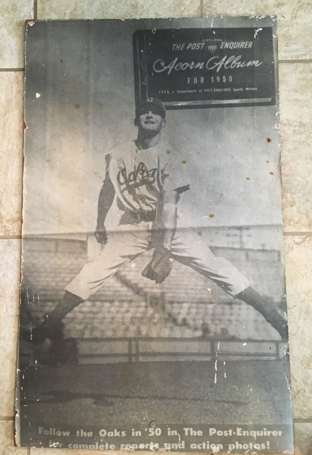 This photo of Lil Arnerich in his Oakland Oaks uniform appeared on the cover of a 1950 sports section of the Oakland Post-Enquirer. (Courtesy of Arnerich family)