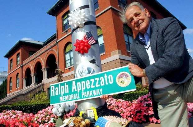 Lil Arnerich, who served on the Alameda City Council, had a street sign made up to honor Ralph Appezzato in this Oct. 16, 2002, photo. (Nick Lammers/Staff archives)