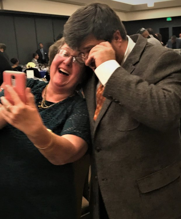 Sandra Kelly, Antioch's Citizen of the Year, takes a celebratory selfiewith Sean Sasser. (Courtesy Trine Gallegos)