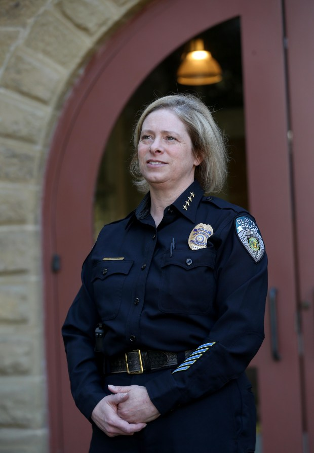 Clayton police Chief Elise Warren is photographed at the police station in Clayton, Calif., on Wednesday, March 7, 2018. Warren was sworn in on Feb. 20 and is Clayton's first female police chief and the only active female chief in Contra Costa County. Previously Warren served 28 years with the Contra Costa County Sheriff's Department, finishing as assistant sheriff. (Jane Tyska/Bay Area News Group)
