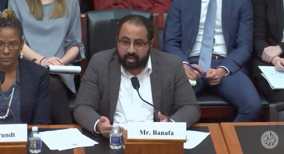 Bassem Banafa, seen here testifying in a Congressional hearing about humantrafficking, sued the Contra Costa District Attorney's office for alleged discrimination last week.