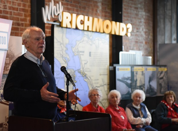 """Richmond Mayor Tom Butt, shares his appreciation of the """"Rosies"""" at the National Rosie the Riveter Day Celebration on March 21 at the Rosie the Riveter Visitor Education Center in Richmond. (Courtesy of Haley Nelson)"""