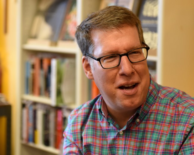 Michael Barnard, president and general manager of Rakestraw Books, talks about his love for reading as a child on April 7, 2018 at Rakestraw Books in Danville, California. The local bookstore is celebrating its 45th anniversary this month. (Photo By Haley Nelson)
